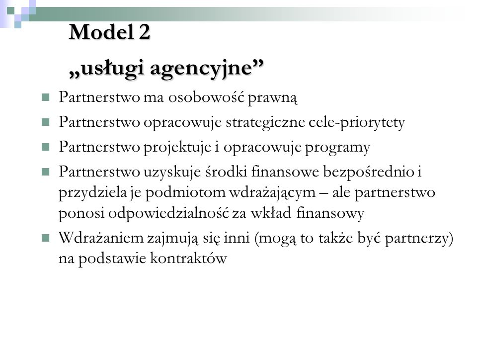 """Model 2 """"usługi agencyjne"""