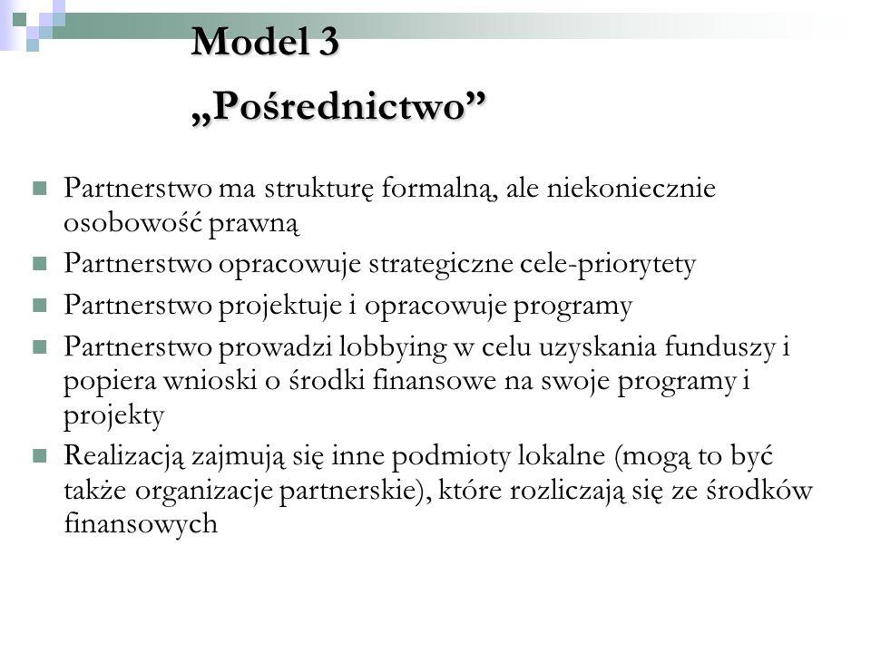 """Model 3 """"Pośrednictwo Partnerstwo ma strukturę formalną, ale niekoniecznie osobowość prawną. Partnerstwo opracowuje strategiczne cele-priorytety."""