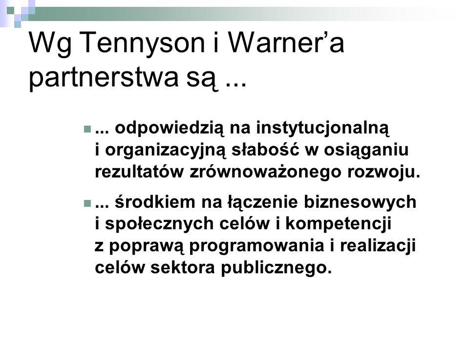 Wg Tennyson i Warner'a partnerstwa są ...