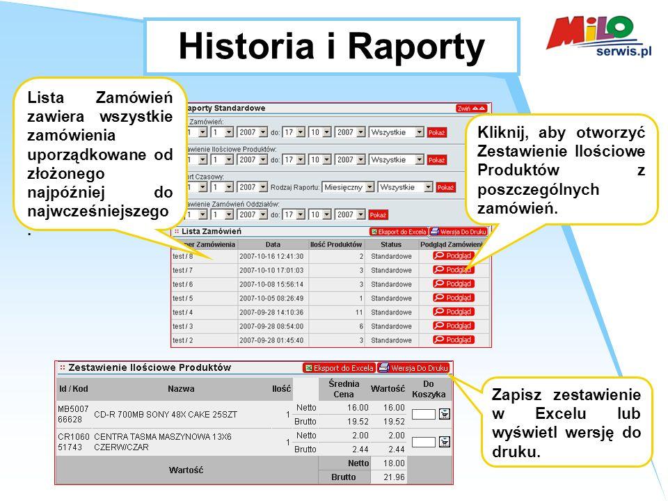 Historia i Raporty Lista Zamówień zawiera wszystkie zamówienia uporządkowane od złożonego najpóźniej do najwcześniejszego.