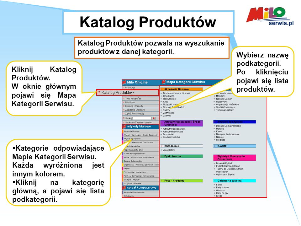 Katalog Produktów Katalog Produktów pozwala na wyszukanie produktów z danej kategorii.