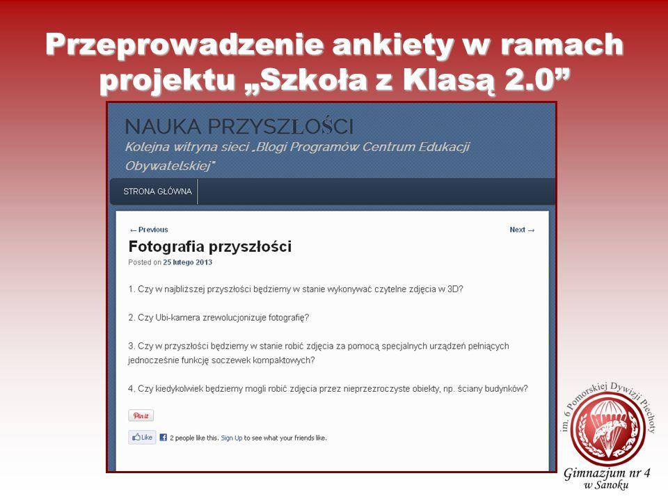 """Przeprowadzenie ankiety w ramach projektu """"Szkoła z Klasą 2.0"""