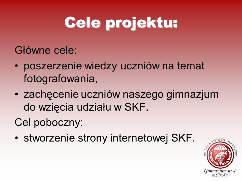 Cele projektu: Główne cele: