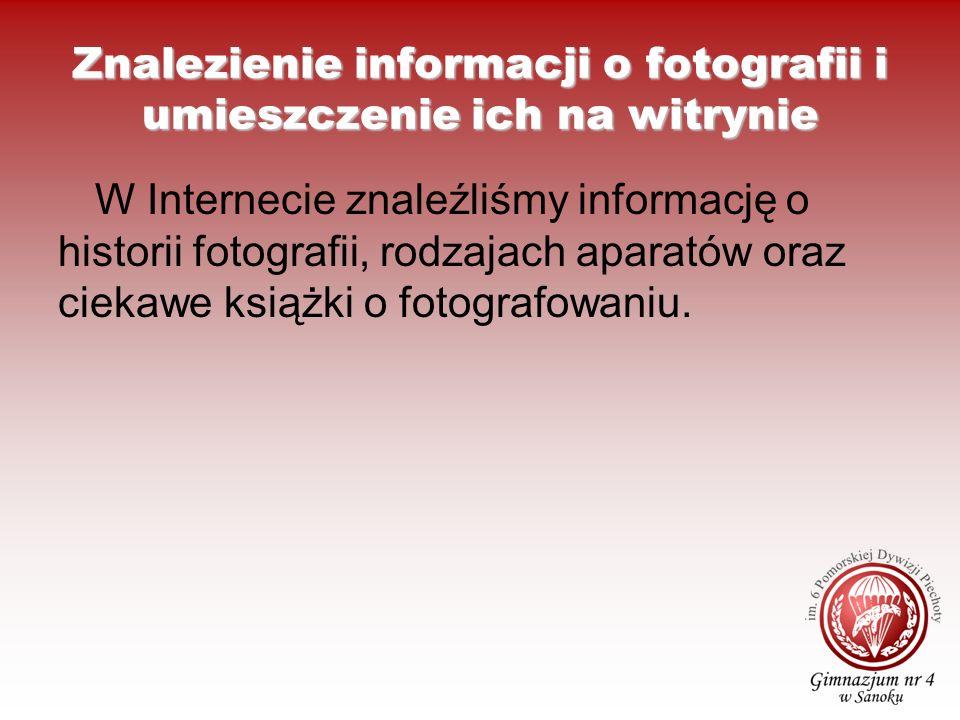 Znalezienie informacji o fotografii i umieszczenie ich na witrynie