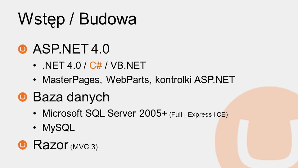 Wstęp / Budowa ASP.NET 4.0 Baza danych Razor (MVC 3)