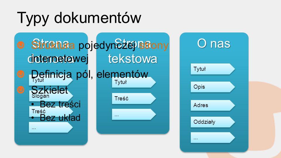 Typy dokumentów Strona domowa Strona tekstowa O nas