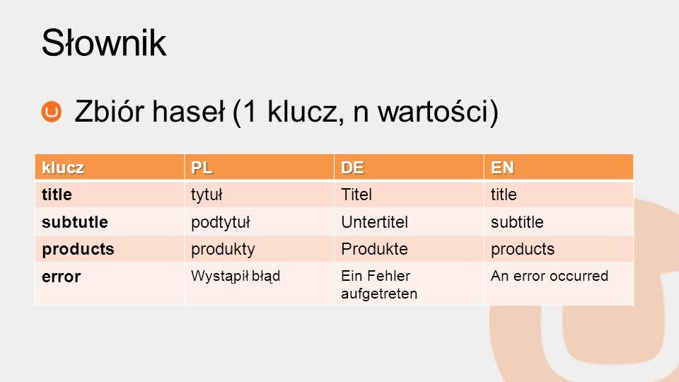 Słownik Zbiór haseł (1 klucz, n wartości) klucz PL DE EN title tytuł