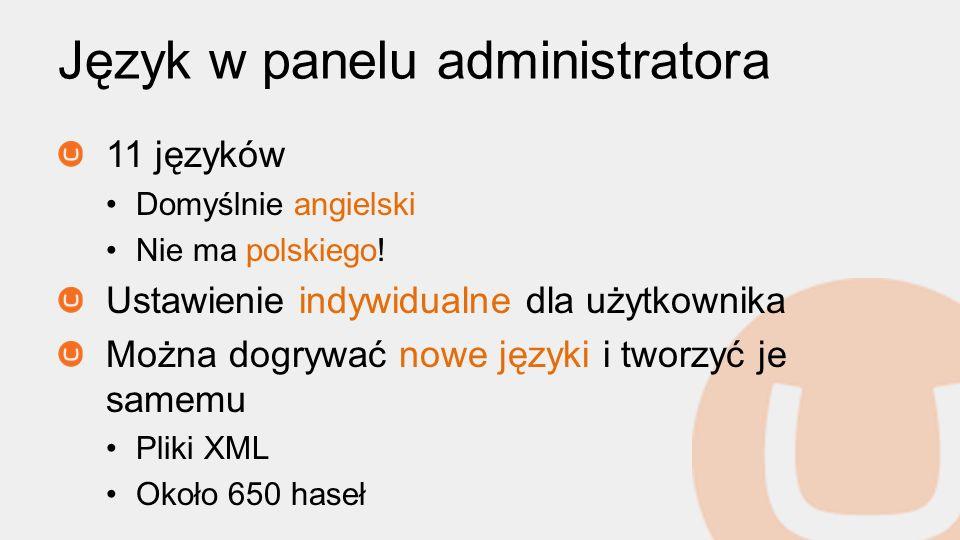 Język w panelu administratora