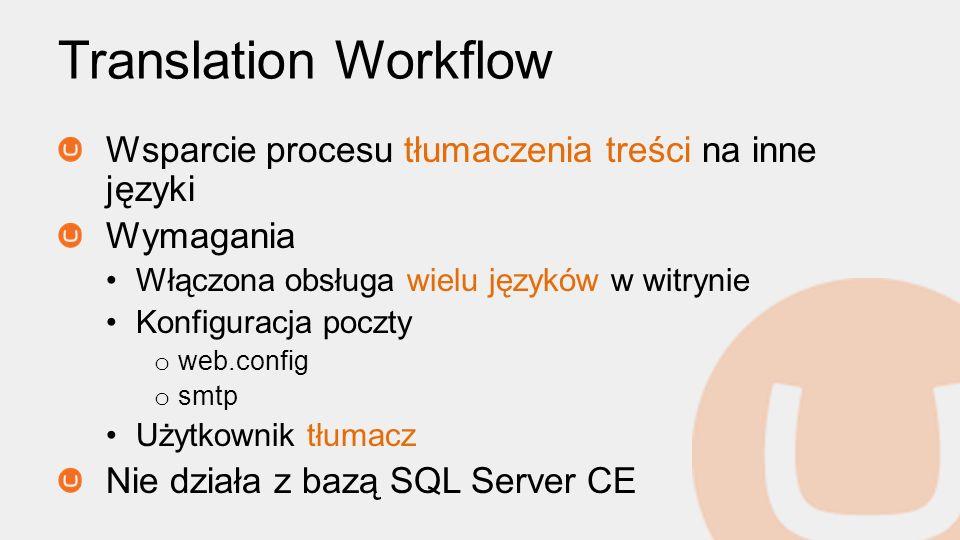 Translation Workflow Wsparcie procesu tłumaczenia treści na inne języki. Wymagania. Włączona obsługa wielu języków w witrynie.