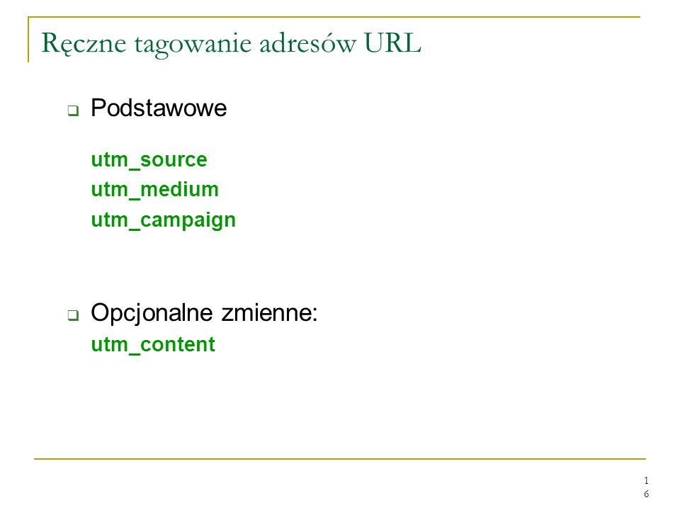Ręczne tagowanie adresów URL