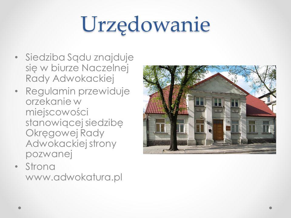 Urzędowanie Siedziba Sądu znajduje się w biurze Naczelnej Rady Adwokackiej.