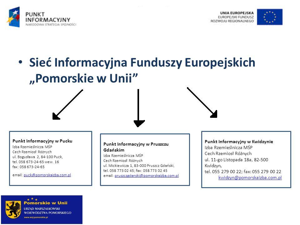 """Sieć Informacyjna Funduszy Europejskich """"Pomorskie w Unii"""