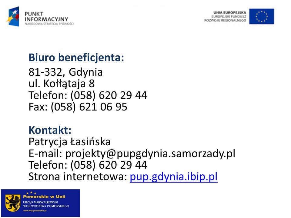 Biuro beneficjenta: 81-332, Gdynia ul