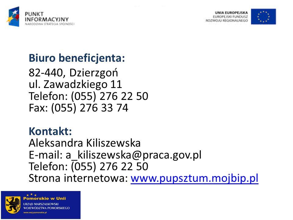 Biuro beneficjenta: 82-440, Dzierzgoń ul