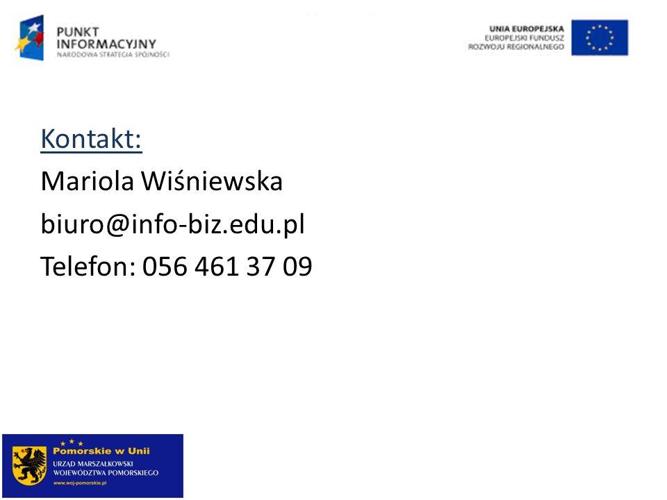 Kontakt: Mariola Wiśniewska biuro@info-biz.edu.pl Telefon: 056 461 37 09