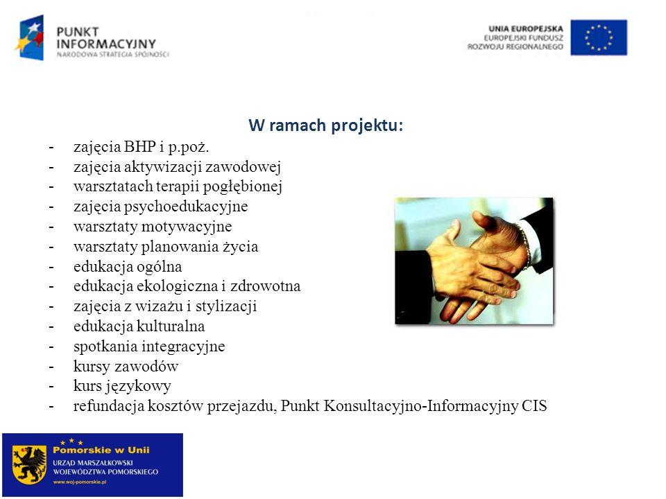 W ramach projektu: zajęcia BHP i p.poż. zajęcia aktywizacji zawodowej