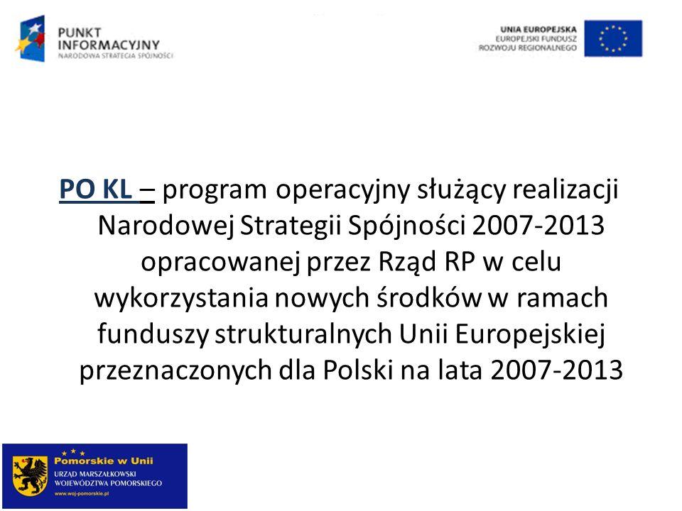 PO KL – program operacyjny służący realizacji Narodowej Strategii Spójności 2007-2013 opracowanej przez Rząd RP w celu wykorzystania nowych środków w ramach funduszy strukturalnych Unii Europejskiej przeznaczonych dla Polski na lata 2007-2013