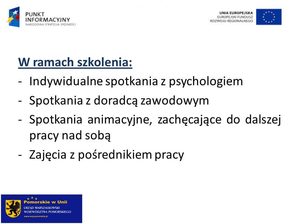 W ramach szkolenia: Indywidualne spotkania z psychologiem. Spotkania z doradcą zawodowym.