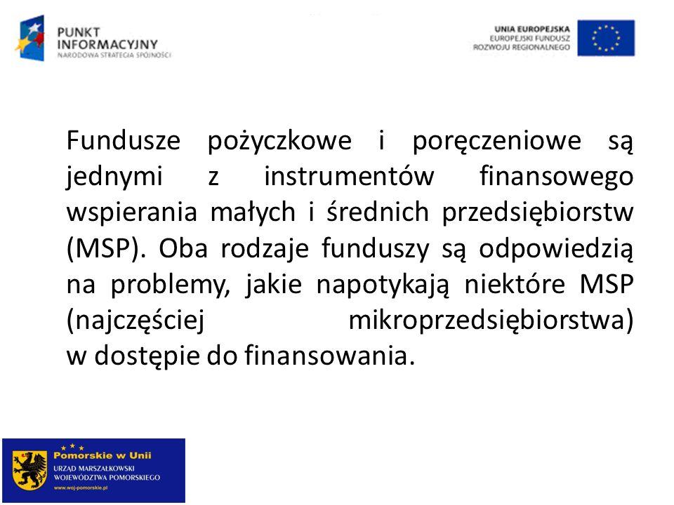 Fundusze pożyczkowe i poręczeniowe są jednymi z instrumentów finansowego wspierania małych i średnich przedsiębiorstw (MSP).