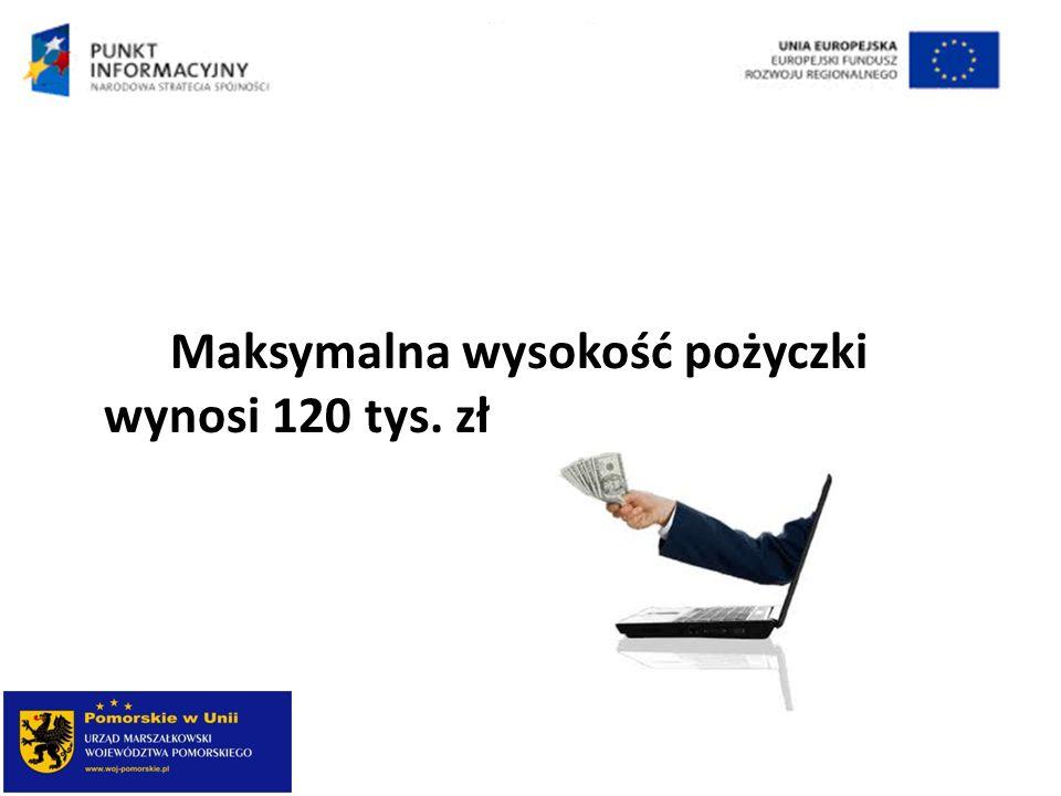 Maksymalna wysokość pożyczki wynosi 120 tys. zł