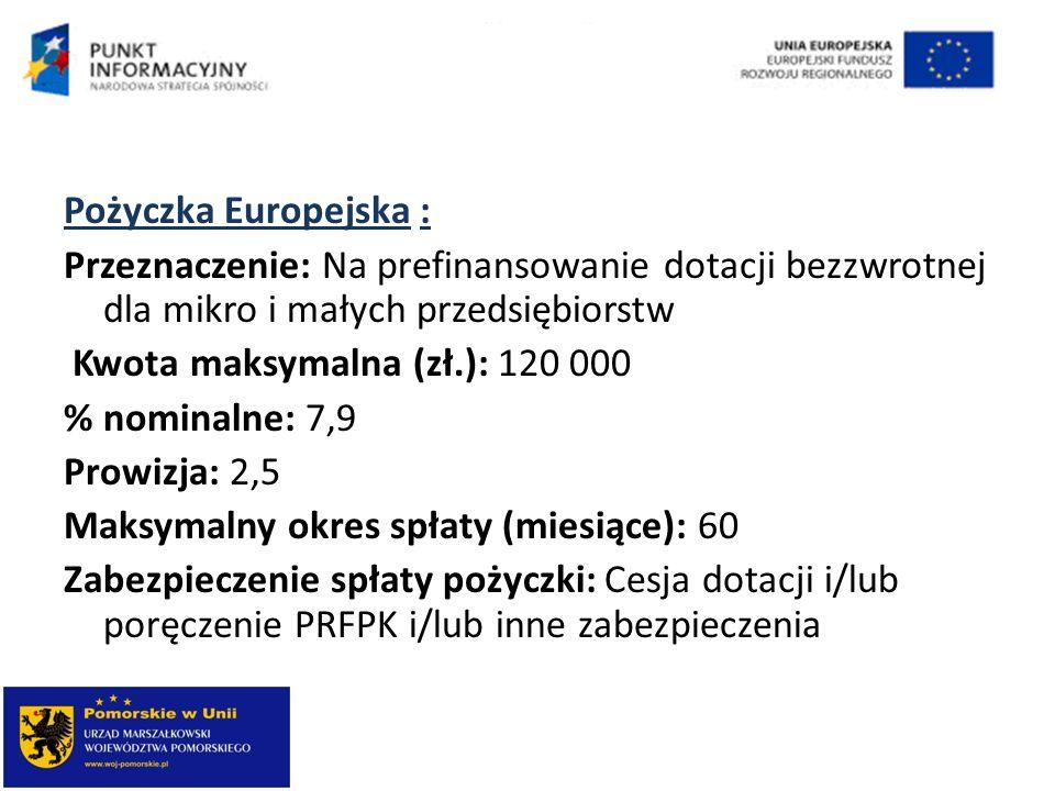 Pożyczka Europejska : Przeznaczenie: Na prefinansowanie dotacji bezzwrotnej dla mikro i małych przedsiębiorstw Kwota maksymalna (zł.): 120 000 % nominalne: 7,9 Prowizja: 2,5 Maksymalny okres spłaty (miesiące): 60 Zabezpieczenie spłaty pożyczki: Cesja dotacji i/lub poręczenie PRFPK i/lub inne zabezpieczenia
