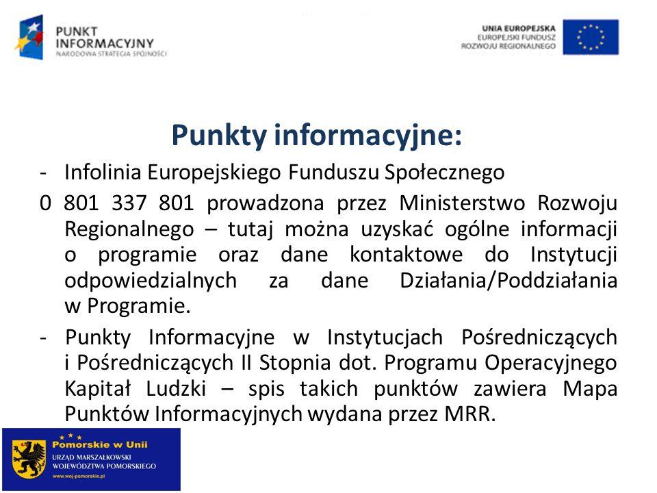 Punkty informacyjne: Infolinia Europejskiego Funduszu Społecznego