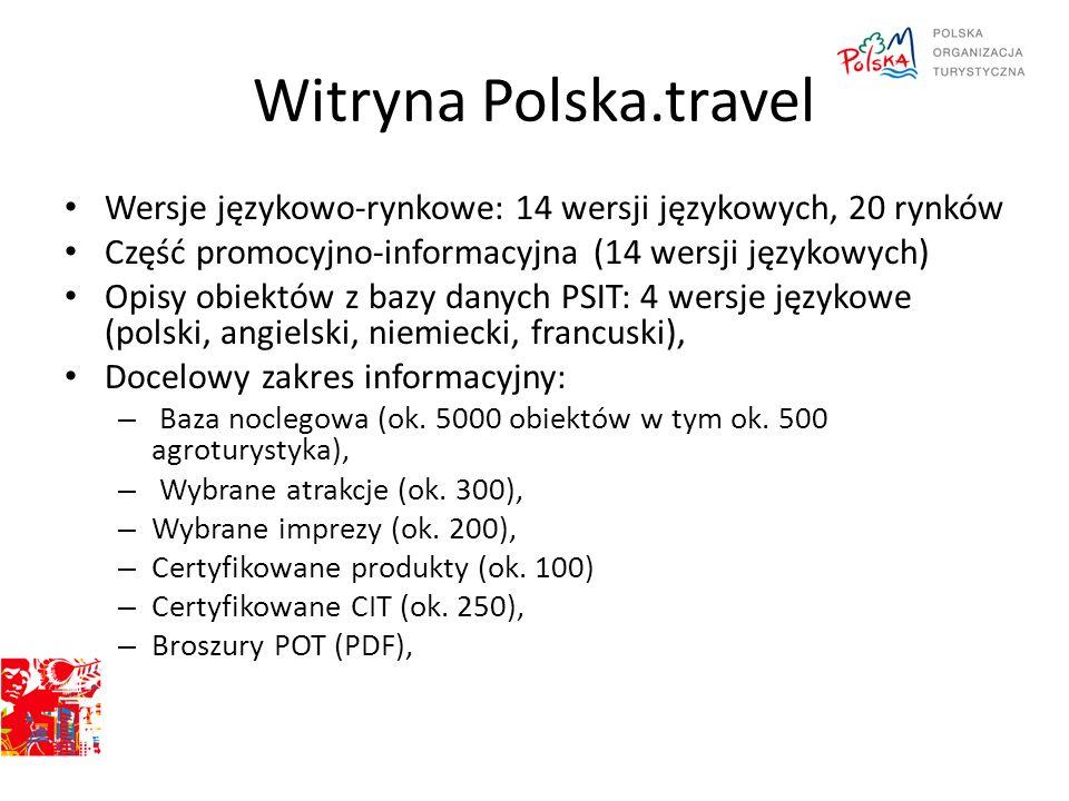 Witryna Polska.travel Wersje językowo-rynkowe: 14 wersji językowych, 20 rynków. Część promocyjno-informacyjna (14 wersji językowych)