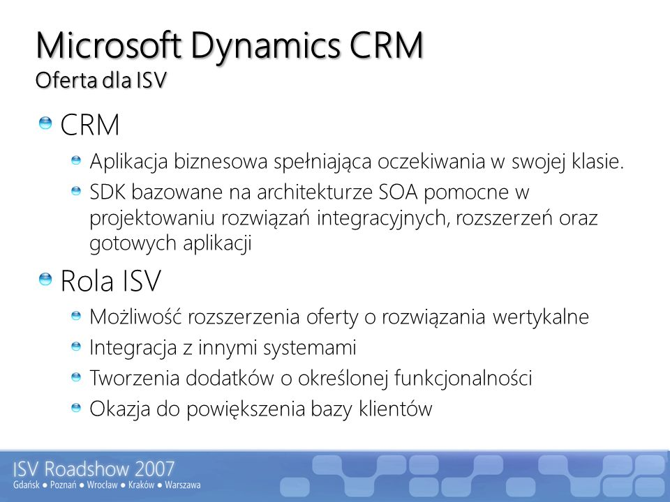 Microsoft Dynamics CRM Oferta dla ISV