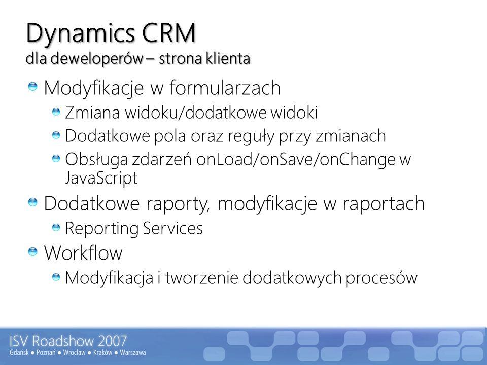 Dynamics CRM dla deweloperów – strona klienta