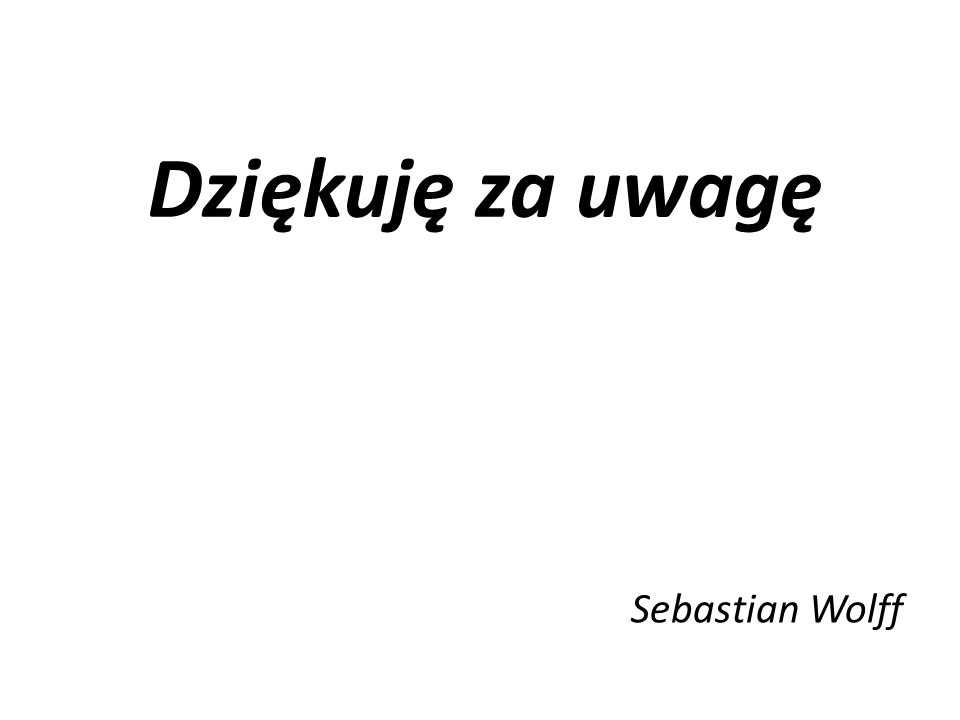 Dziękuję za uwagę Sebastian Wolff