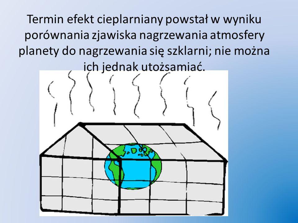 Termin efekt cieplarniany powstał w wyniku porównania zjawiska nagrzewania atmosfery planety do nagrzewania się szklarni; nie można ich jednak utożsamiać.