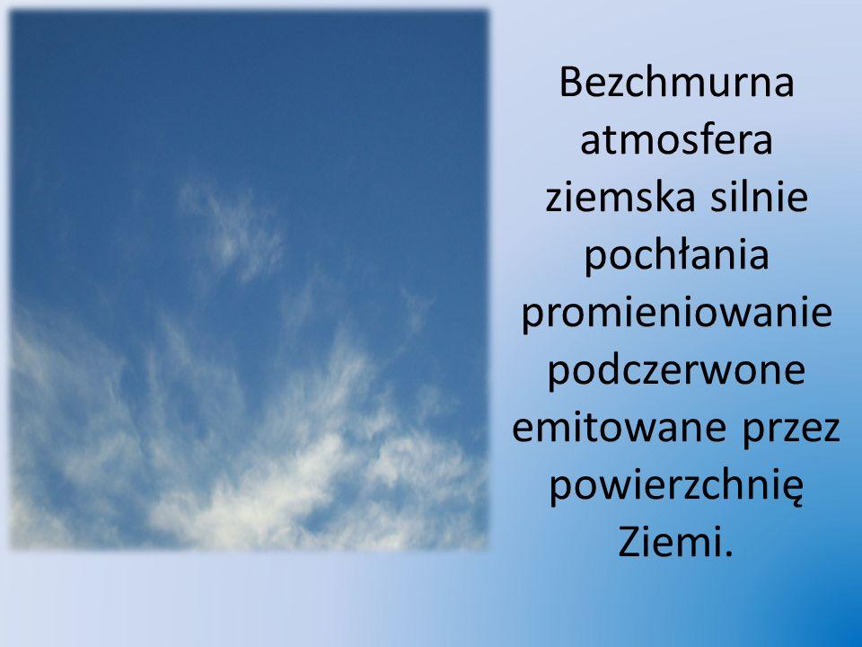 Bezchmurna atmosfera ziemska silnie pochłania promieniowanie podczerwone emitowane przez powierzchnię Ziemi.