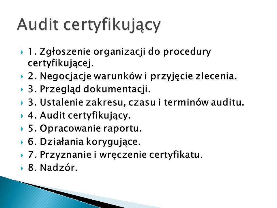 Audit certyfikujący 1. Zgłoszenie organizacji do procedury certyfikującej. 2. Negocjacje warunków i przyjęcie zlecenia.