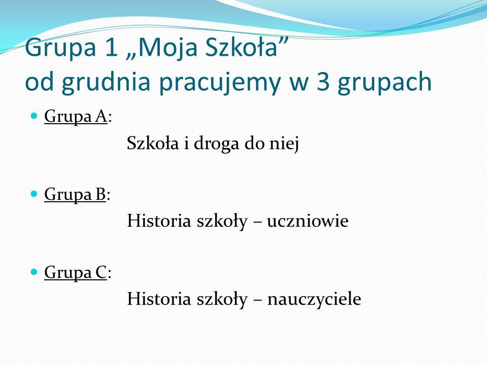"""Grupa 1 """"Moja Szkoła od grudnia pracujemy w 3 grupach"""