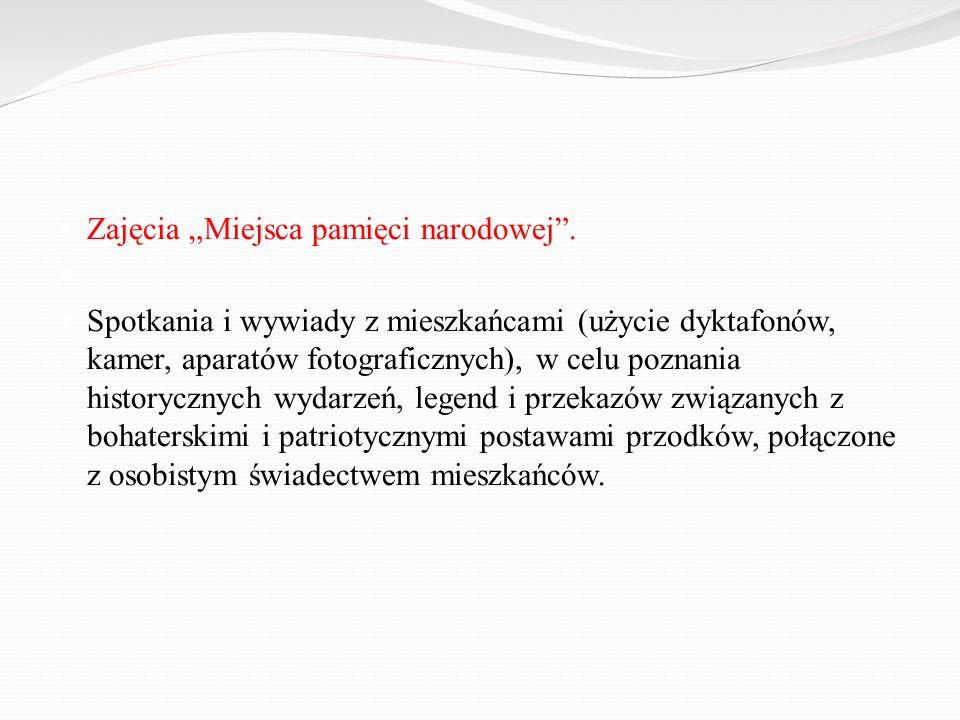 """Zajęcia """"Miejsca pamięci narodowej ."""