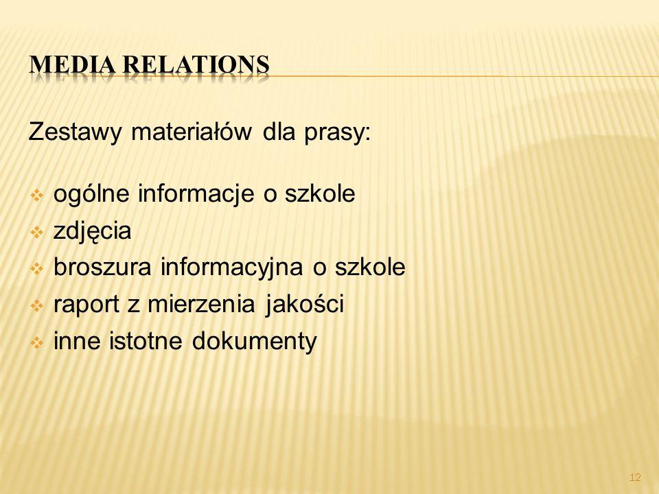 Media relations Zestawy materiałów dla prasy: ogólne informacje o szkole. zdjęcia. broszura informacyjna o szkole.