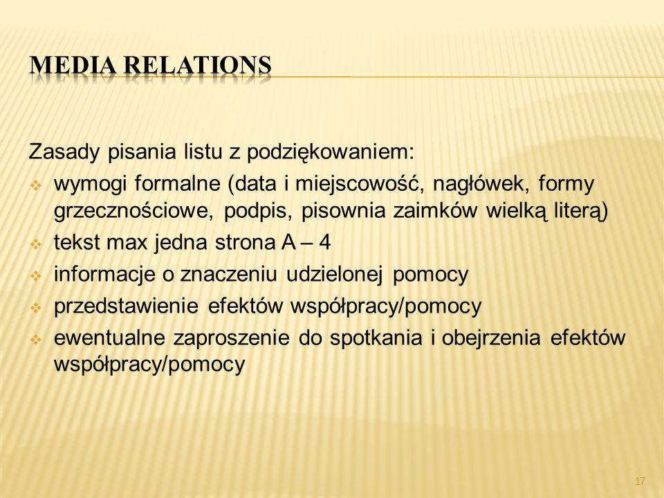 Media relations Zasady pisania listu z podziękowaniem: