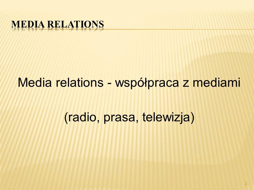Media relations - współpraca z mediami (radio, prasa, telewizja)