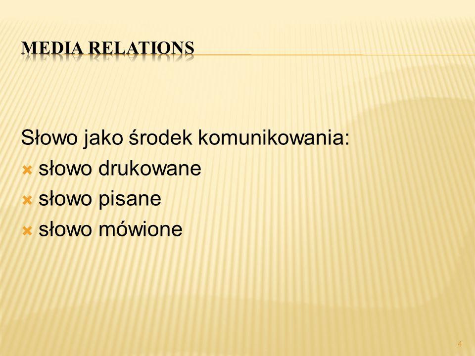 Media relations Słowo jako środek komunikowania: słowo drukowane słowo pisane słowo mówione