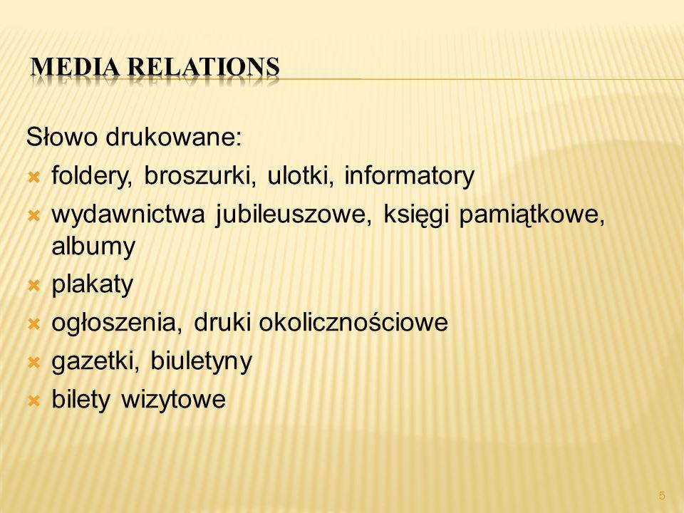 Media relations Słowo drukowane: