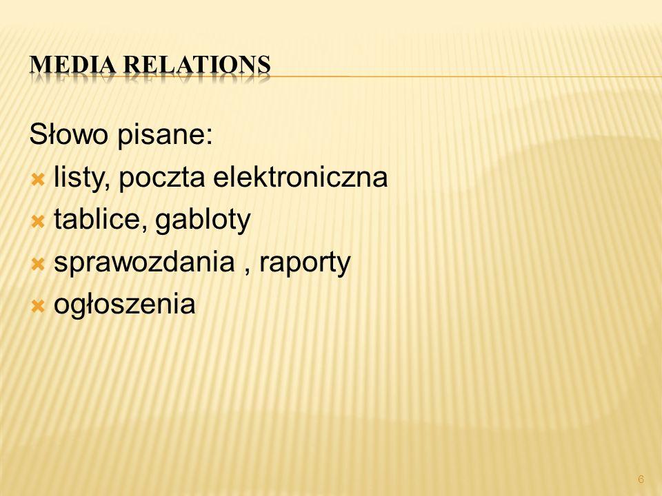 Media relations Słowo pisane: listy, poczta elektroniczna. tablice, gabloty. sprawozdania , raporty.
