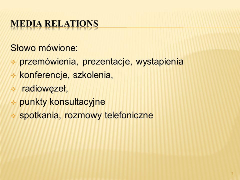Media relations Słowo mówione: przemówienia, prezentacje, wystapienia. konferencje, szkolenia, radiowęzeł,