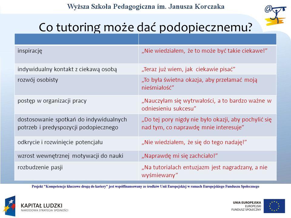 Co tutoring może dać podopiecznemu