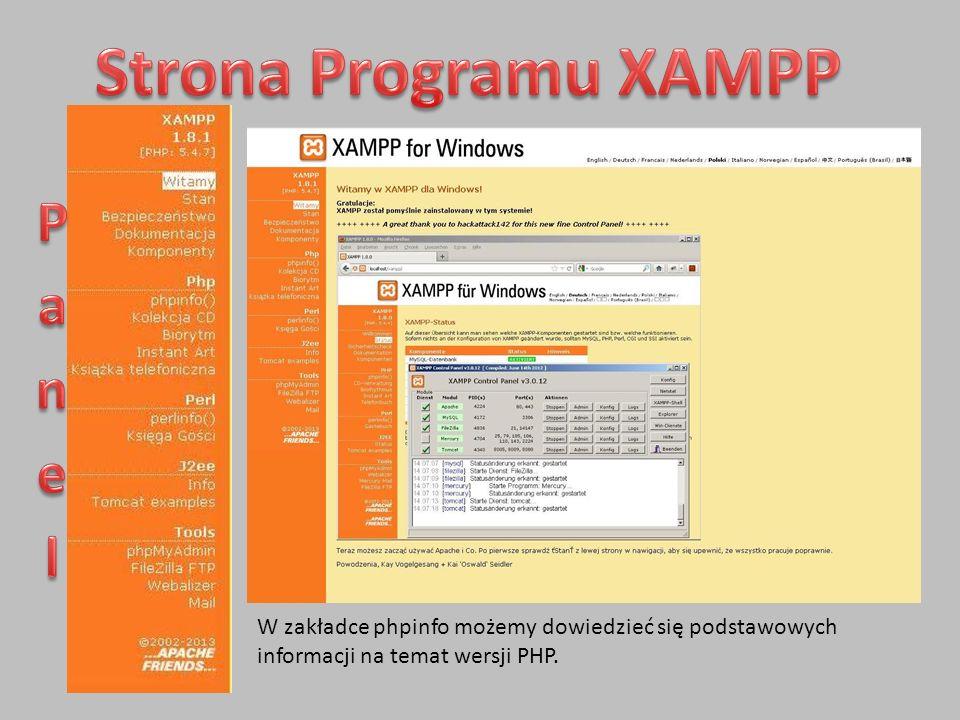 Strona Programu XAMPP Panel