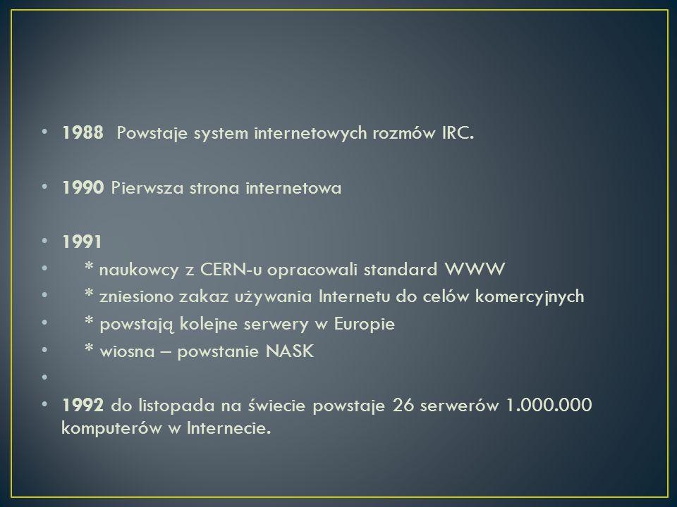 1988 Powstaje system internetowych rozmów IRC.