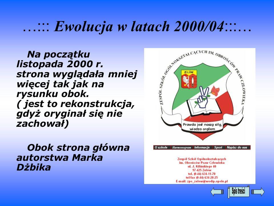 …::: Ewolucja w latach 2000/04:::…