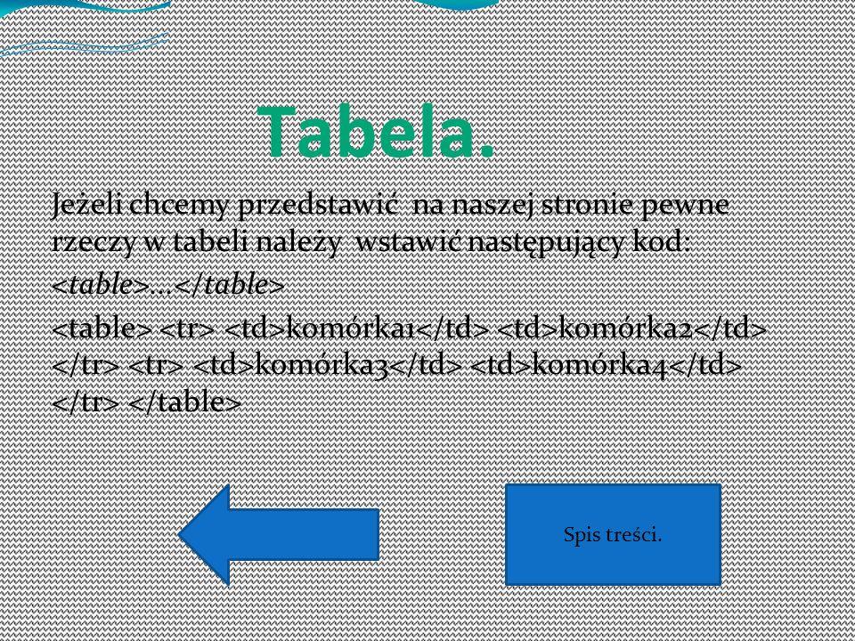 Tabela. Jeżeli chcemy przedstawić na naszej stronie pewne rzeczy w tabeli należy wstawić następujący kod: