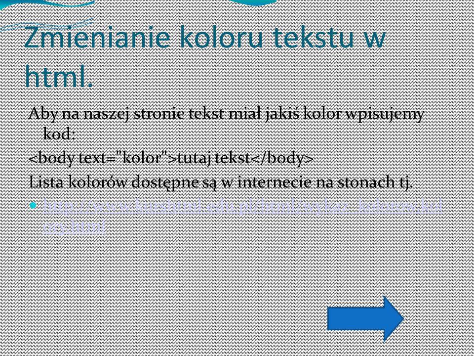 Zmienianie koloru tekstu w html.