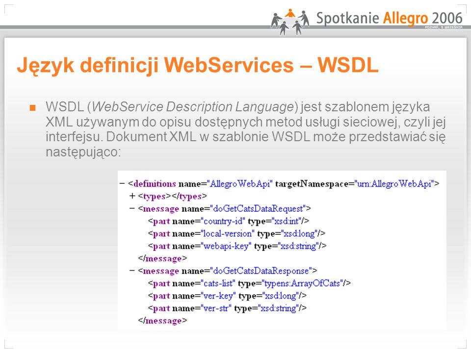 Język definicji WebServices – WSDL