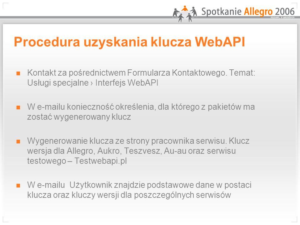 Procedura uzyskania klucza WebAPI